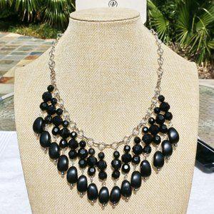 New! Boho Silvertone Black Bead Statement Necklace